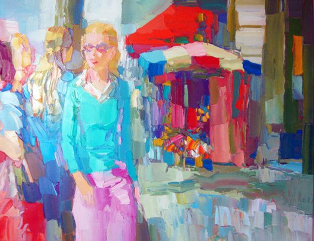 Nicola_Simbari_Pink_and_Turquoise_1974_34x42