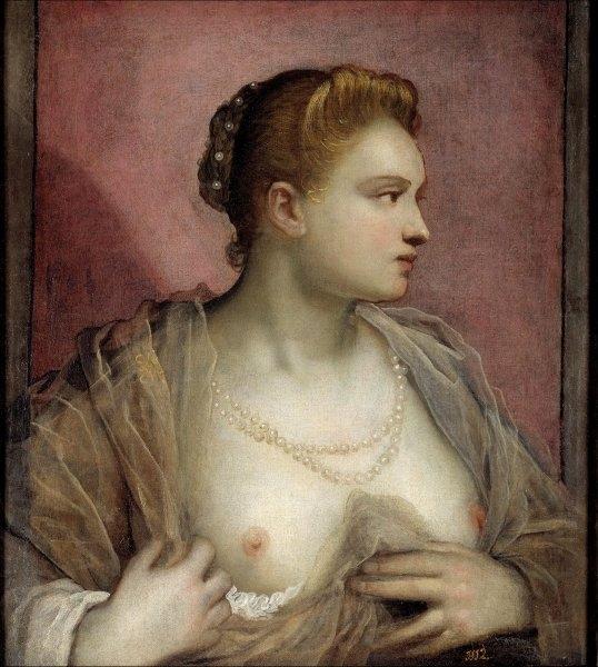 Tintoretto  Retrato de una dama mostrando sus pechos