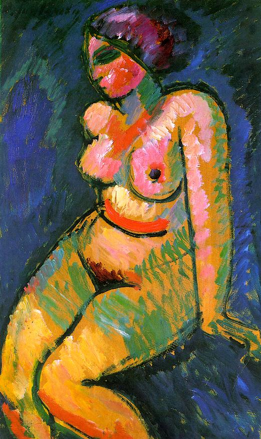 Alexei von Jawlensky, Seated Female Nude, 1910, oil on cardboard