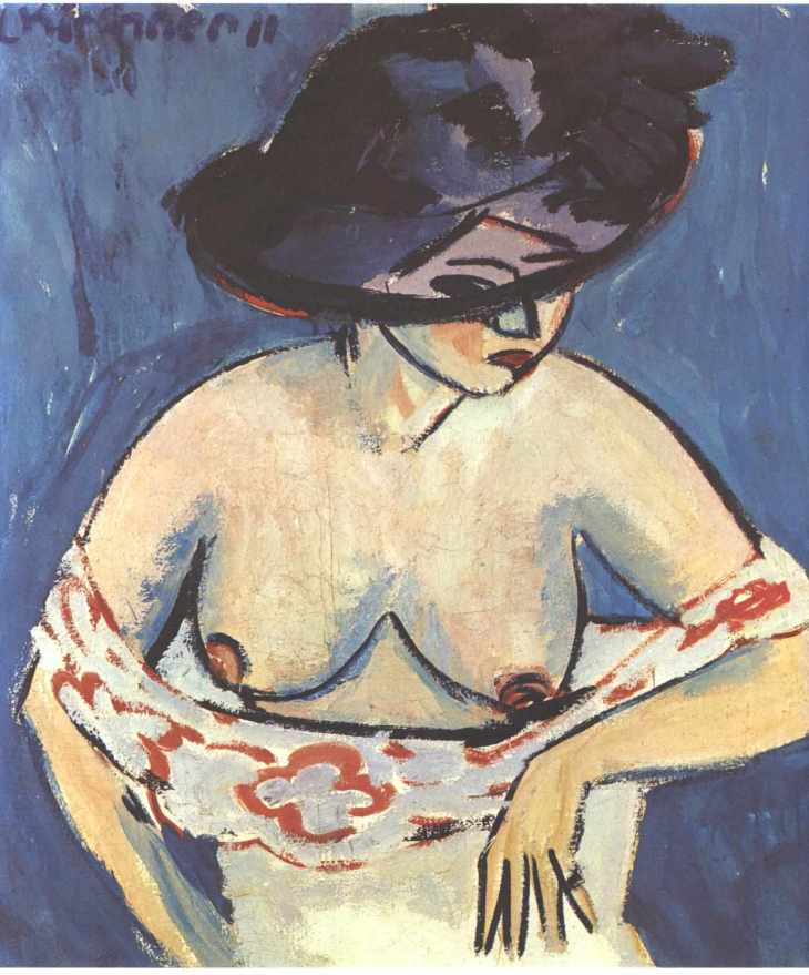 Half-Naked Woman with a Hat - Ernst Ludwig Kirchner