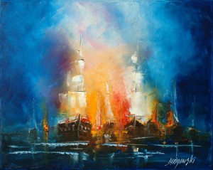 Painting Ship in fire - Artist Marek Langowski