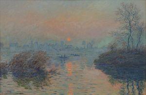 Soleil_couchant_sur_la_seine_à_Lavacourt,_effet_d'hiver_-_Claude_Monet
