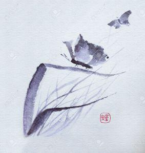 pintura japonesa  Flores de mariposa acuarela tradicional japonés