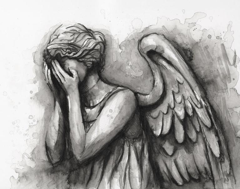 Weeping Angel Painting - Weeping Angel Watercolor by Olga Shvartsur