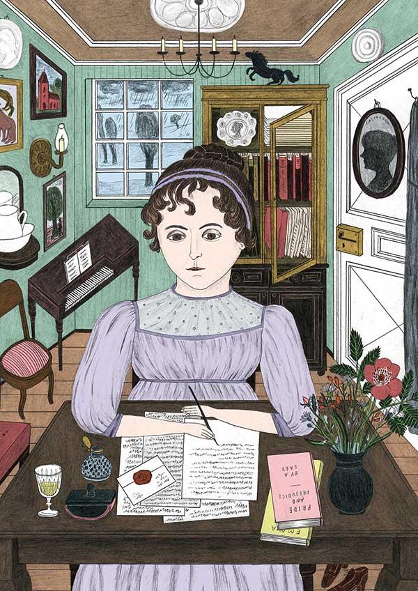Jane Austen (Illustration by Sophia Martineck)