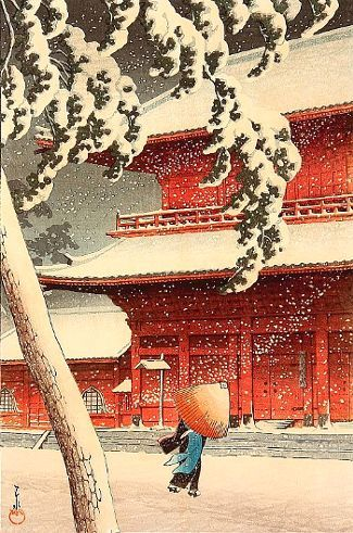 Nieve en el templo de Zojo, de Hasui Kawase, artista japonés de ukiyo-e.