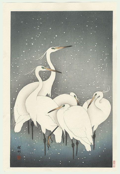 Ohara Koso, Egrets on a Snowy Night (Groupe de hérons dans la neige), 1928