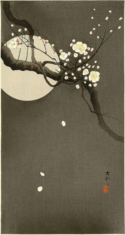 Ohara Koson (小原 古邨; 1877-1945), Flowering Plum and Moon
