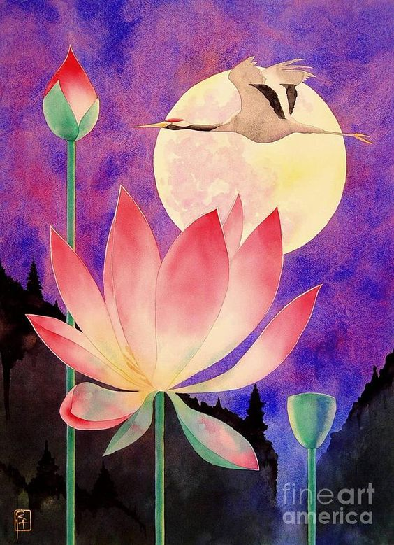Lotus And Crane Painting by Robert Hooper