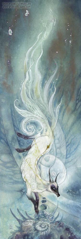 fairytales & mythology white nine tailed fox