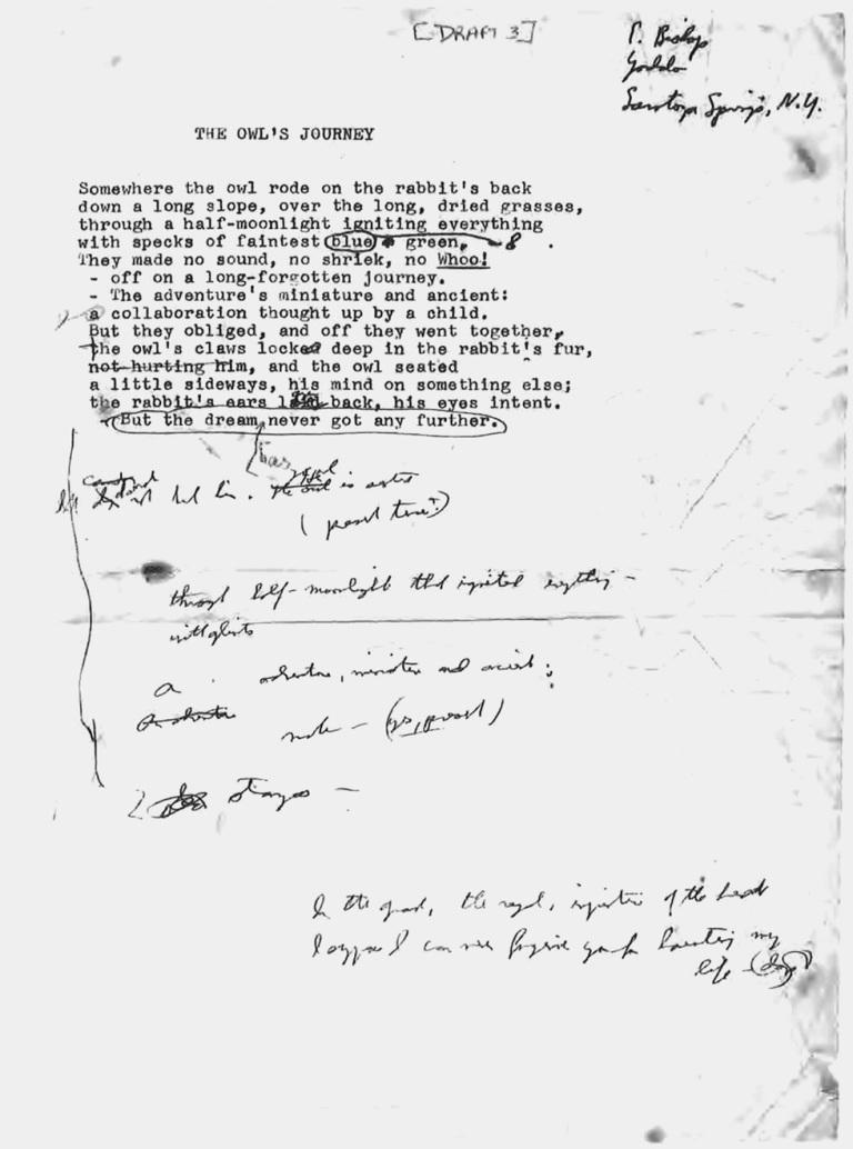 Anotaciones que reflejan el rigor con el que Bishop se enfrentaba a sus escritos.jpg